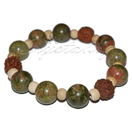 Гривна Камъни в земни цветове и дърво