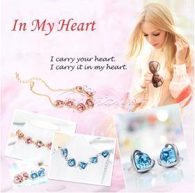 Гривна и обеци In My Heart синьо
