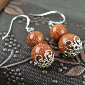 Гривна и обеци от естествен камък ахат и слънчев камък