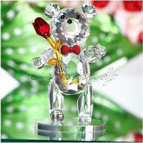 Кристална фигура Bear зелено