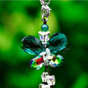 Кристална висулка за кола Five Petals синьо-зелена