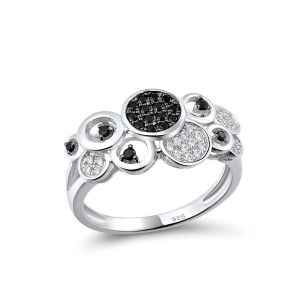 Пръстен Timeless luxury черен шпинел и бели кристали